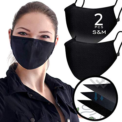 Triple Layer Muslin Cotton Black Face Cover ( Pack of 2 - Size S&M ) Nose & Mouth Covers Made from Muslin with Extra Padding Slot a Casual Comfortable Wear for Daily Use for Full Protection