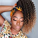 ColorfulPanda Queue de cheval Afro Kinky Curly pour femmes Ombre Blonde Marron Drawstring Ponytail Extension de cheveux synthétiques Curly Ponytail avec clip-in postiche(16 pouces, Marron)
