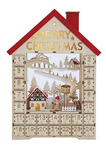 Creative Co-op Adventskalender aus Holz mit nummerierten Boxen und LED-Licht, Mehrfarbig