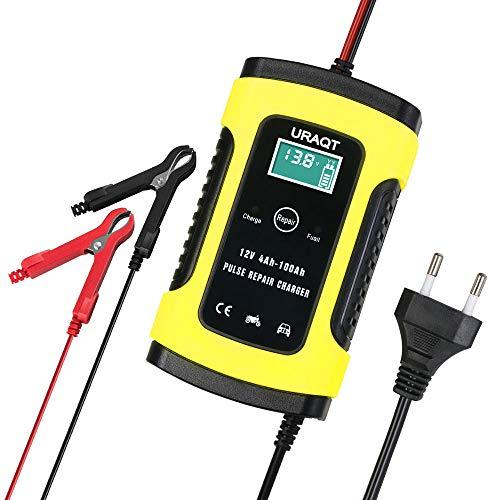 Chargeur de Batterie, URAQT Mainteneur 6A 12V Intelligent, Affichage LCD, Prise Standard Européenne avec Protections Multiples pour Batterie de Voiture, Moto,...
