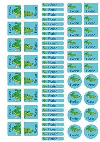 Mein Zwergenland Stickerbogen mit Schuhaufkleber für den Kindergarten mit Namen Krokodil