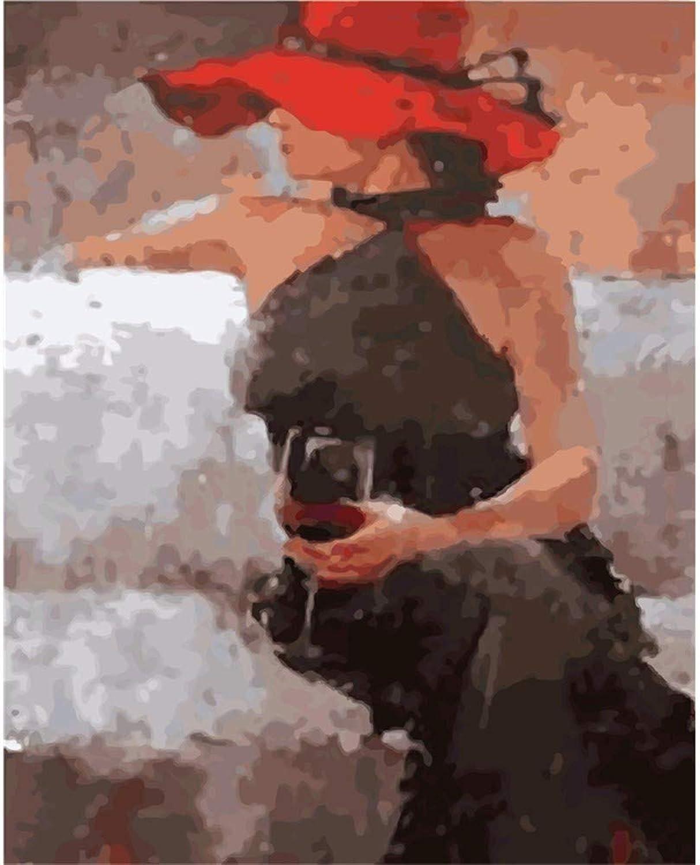 diseño simple y generoso Cxmm Auto-Completo Pintura Digital Digital Digital Sin Marco Wine Girl Decoración Mural 40  50Cm Pintura Materias Primas  seguro de calidad