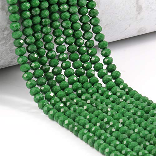 Tablecl Cuentas De Vidrio para Pulseras 3/4/6 / 8mm Facetado Multicolor Austria Cristal Cuentas Redondas Sueltas para Hacer Joyas DIY Pulsera Hebra Green 8mm Approx 68pcs