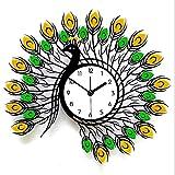 Gymqian Reloj Sala de Estar Creativa Mute Pared Arte Cuarzo Moda Pavo Real Ideas de regalo/A