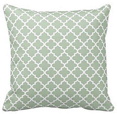 Babyssj Moroccan Quatrefoil pattern Pillow case 45,7x 45,7cm | Colore: verde salvia (entrambi i lati)