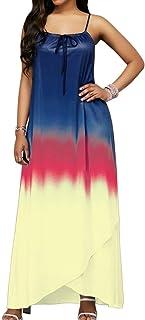 9202abb57e9 Zantt Women s Spaghetti Strap Gradient Color Boho Tie Evening Maxi Dress