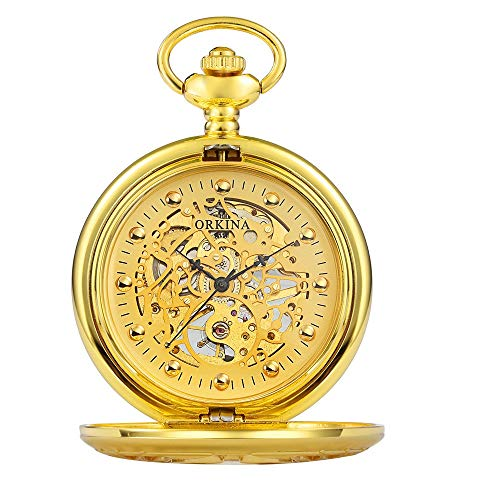 Lwieui Reloj de Bolsillo Reloj de Bolsillo mecánico Retro clásico for Hombre Antiguo Liso for Hombre con Cadena Desmontable y números Romanos (Color : Gold)