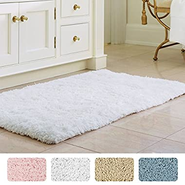Norcho 31  x 19  Soft Shaggy Bath Mat Non-slip Rubber Bath Rug Luxury Microfiber Bathroom Floor Mats Water Absorbent White