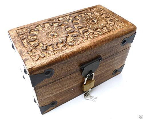 30KS Holztruhe mit geschnitzter Oberfläche Schatztruhe Truhe Schatzkiste Spardose Spartruhe Holzbox Box Kiste Holztruhe Holzkiste Schatzkiste Schatztruhe Truhe Schatz Spartruhe