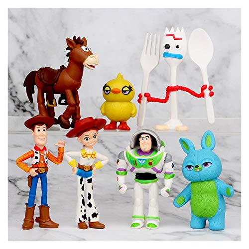 black Rose Wangweiming 2020 Disney 7PCS Toy Story 4 Action Figure Toys Woody Jessie Buzz Lightyear Forky Pig Bear Figura Model Doll Figurine Kids Gifts WWM (Color : 7pcs a Set)