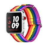 bandmax LGBT Armband kompatibel für Apple Watch 38mm 40mm, Gay Pride Regenbogen Nylon Gewebe...