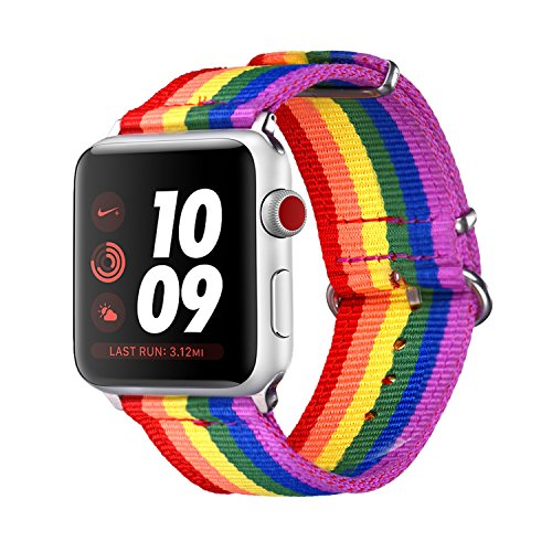 bandmax Correa para Watch Series 3/2 / 1, 42mm LGBT Orgullo 6 Colores Arco Iris Watchband de Nailon Trenzado Denim Telas Reemplazo de Banda Correa para Apple Watch Todos Los Modelos (42mm, Arco Iris)