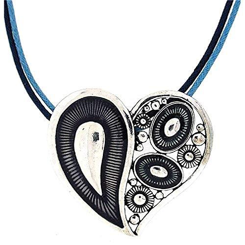 La Olivia Collection Pendentif Bleu en Forme de Grand Coeur en Métal sur Double Corde de 45cm