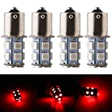 Qasim 10x LED 24V 1156 BA15S P21W 1141 Bombillas Coche Universal para Luz de Respaldo Señal de Giro Indicador de Luces de Estacionamiento 5050 13SMD 156LM Rojo
