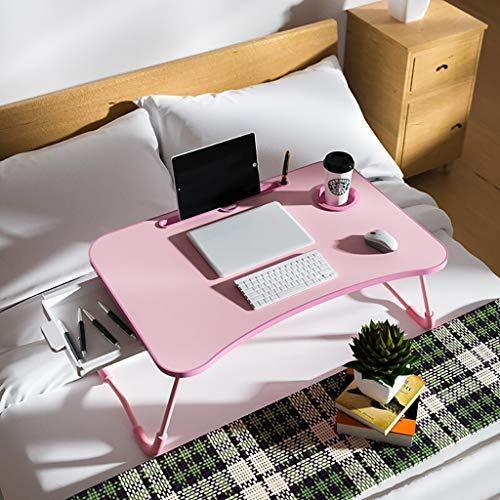 Laptop Bedtafel, Laptops, Schrijven, Studeren en Tekenen - voor Bed, Bank en Bank - opvouwbare Laptopstandaard met Ladeopslag Zwart/Roze