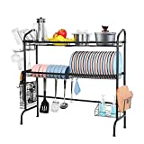 Over the Sink Dish Drying Rack, Weluvfit 2 Tier Large Stainless Steel Non-slip Dish Drying Rack with Utensil Holder Hooks for Kitchen Counter