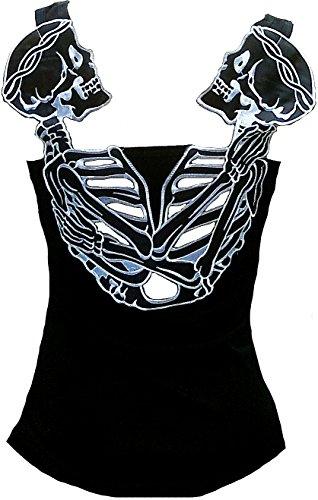 Rockabilly Punk Rock - Camiseta de tirantes para mujer, diseño de calavera gótica, color negro Negro Negro ( XXL