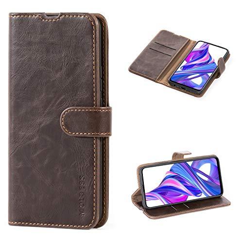 Mulbess Handyhülle für Huawei Honor 9X / 9X Pro Hülle Leder, Honor 9X Pro Handy Hüllen, Vintage Flip Handytasche Schutzhülle für Huawei Honor 9X / 9X Pro Hülle, Kaffee Braun