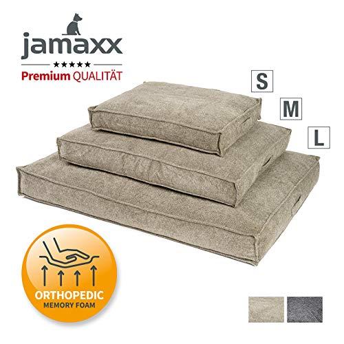 JAMAXX Premium Hundekissen Orthopädische Füllung, Waschbar Bezug aus Edlem Chinelle Stoff, Weiche Kompakte Füllung mit Visco-Schaumstoff-Flocken,65x50 (S) Sand
