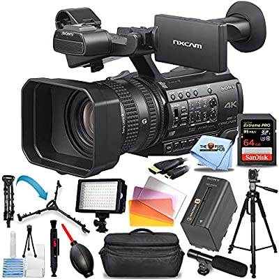 Sony HXR-NX200 HXR-NX200P 4K Professional Camcorder (PAL) - Pro Bundle Includes: Extreme Pro 64GB SD, LED Light Kit, Tripod and Dolly, X-Large Gadget Bag, Microphone and More by Pixel Hub