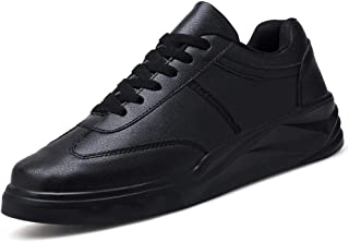 XUJW-Shoes, Court Sneakers for Men PU Leather Outdoor Running Fashion Casual Walking Shoes Lace Up Anti-Slip Round Toe Solid Cozy Soft Durable Comfortable (Color : Black, Size : 7.5 UK)