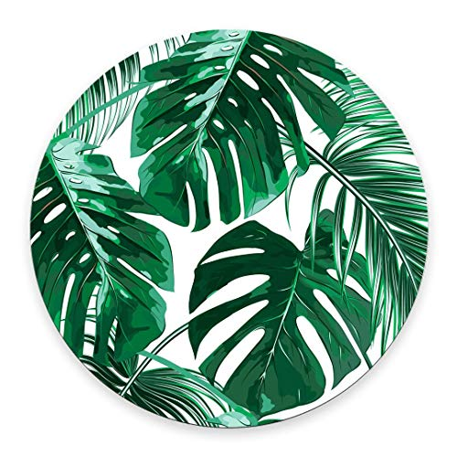 Coseevel 20cm Tropical Leaf Mousepad Mat Beautiful Design Leaves Green with White Background Round Mouse pad