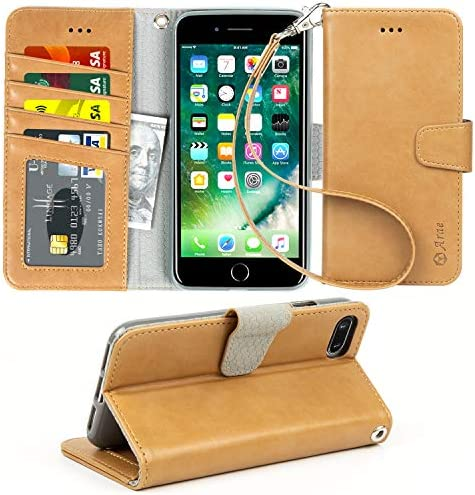 Arae Case for iPhone 7 / iPhone 8, Premium PU Leather Wallet Case with Kickstand and Flip Cover for iPhone 7 (2016) / iPhone 8 (2017) 4.7 inch (not for iPhone 7/8 Plus) (Coffee)