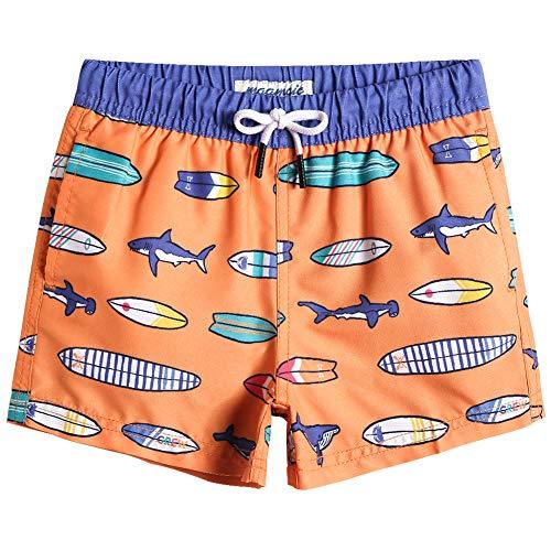 MaaMgic Bañador Niño Ropa de Baño para Natación Secado Rápido Interior de Malla Shorts de Natación 2021, Tabla de Surf-Naranja,5-6 años