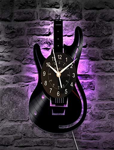 HAIMINGWEI Wohnzimmer Einfache Kreative Schallplatte Wanduhr Kunst Gitarre Mit Led Instrument Stumm Licht Leuchtende Uhr 30Cm@Beleuchtete Version