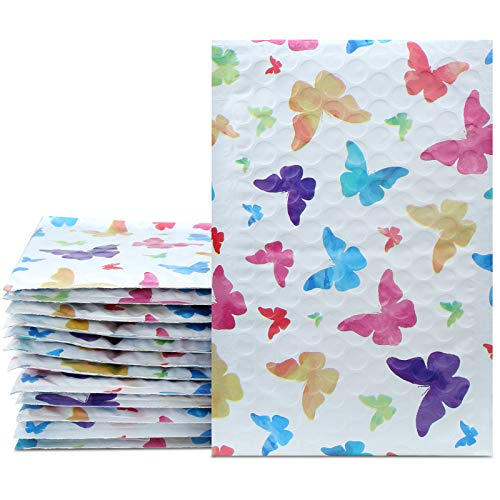 UCGOU 4x8 Inch 50pcs Poly Bubble Mailers Padded Envelopes Boutique Custom Bags Shipping Envelopes Bags Waterproof Envelopes (Colorful Butterfly)
