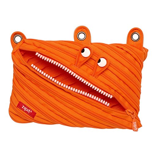 ZIPIT Monster 3-Ring Binder Pencil Pouch, Large Capacity Pen Case for Kids and Teens, Made of One Long Zipper! (Orange)
