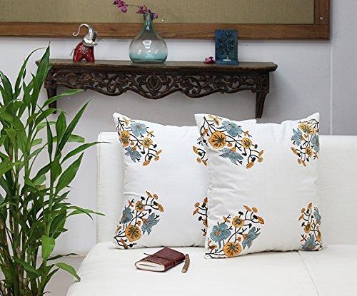 100% coton Housses de coussin pour canapé 18 x 18 Couvre-lit Taie d'oreiller Lot de 2 avec bloc Imprimé Design Home Decor, Coton, Motif 4, 18 x 18