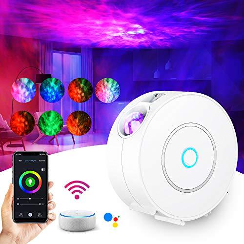 LED Alexa Sternenhimmel Projektor,SUPPOU Smart Nachtlicht 3D Galaxy Sternenprojektor Lampe Kinder Erwachsense mit RGB Dimming/Stimmenkontrolle/WiFi Verbindung/Timer Kompatibel Alexa Google Assistant