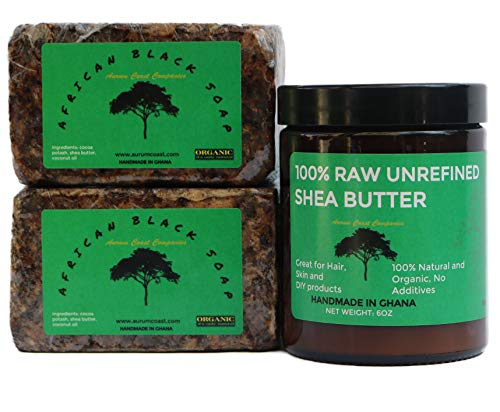 African Black Soap and Shea Butter | Organic Skin Care Pack | Handmade in Ghana | New Launch Sales Price! |