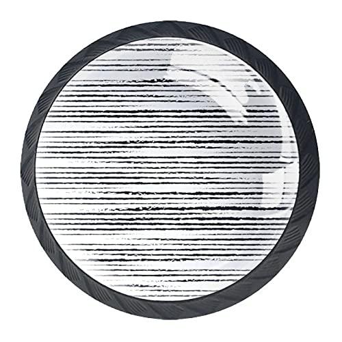 BestIdeas Okrągłe gałki do szuflad 4 opakowania uchwyty 30 mm paski czarny biały nadruk używany do sypialni komoda szafki szafki drzwi kuchenne
