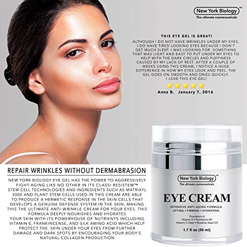 51CESOYV8vL - Eye Cream Moisturizer for Dark Circles, Fine Lines, Puffiness and Wrinkles Under the Eyes – Intensive Anti Aging Formula with Provitamin A and B5, Vitamin C and E – 1.7 fl oz (50ml)