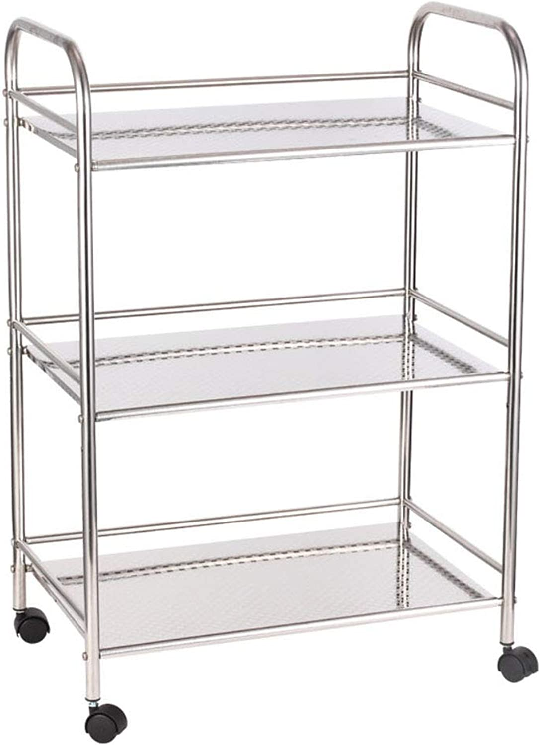 3-Tier Rolling Stainless Steel Multifunction Utility Trolley Kitchen Island Dining Cart Rolling Microwave Storage Shelves Organizer, for Commercial Hotel Restaurant Dining Area