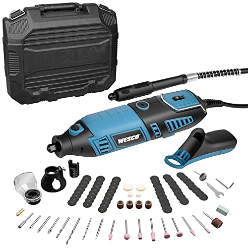 WESCO Rotary Tool Kit, Extend Shaft, Keyless Chunk, 35000RPM, 7 Variable Speed, 82 Accessories, Rotary Multi-Tool for Cutting, Carving, Engraving, Polishing, and Detail Sanding DIY Project