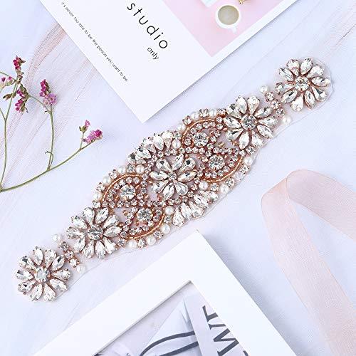 Strass Applique mit Kristallen und Perlen für Kleid Kopfstücke Taschen (Rose Gold)