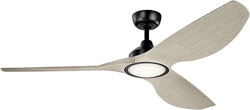 high quality KICHLER 300365SBK Protruding Mount, outlet online sale 3 walnut Blades Ceiling fan with 23 watts light, Satin wholesale Black sale