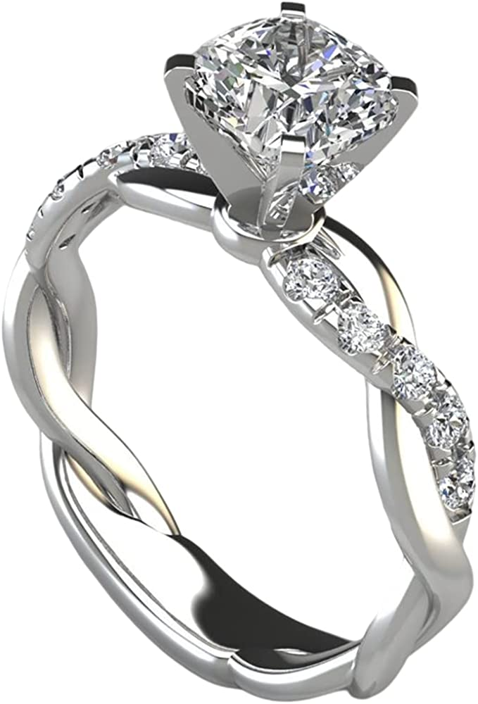 Rhodium White Gold Plated Braided Knot Wave Wedding Engagement Proposal Ring