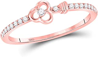 FB Jewels 10K Rose Gold Womens Round Diamond Spade Stackable Wedding Band Ring 1/6 Cttw Size 7 (Primary Stone: I2 clarity;...