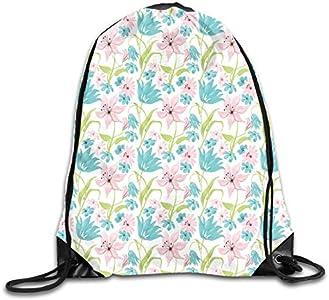 Botanical Artistic Soft Nature Daisy Lilies Blue Pink Blossoms Mochila de hombro bolsa de deporte bolsa de deporte