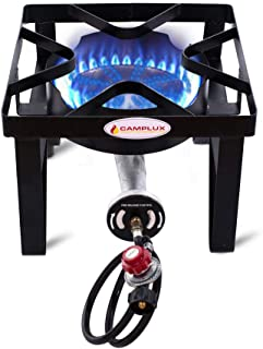 Camplux JK-SS21 Outdoor Camp Stove 200,000 BTU Propane Gas Single Burner Cast Iron Gas Cooker with Stand, Adjustable 0-20PSI CSA Listed Regulator & Hose for Beer Brewing & Turkey Fry