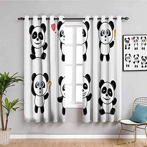 Azbza Cortinas Opacas Salón - Blanco dibujos animados panda lindo - 90% Opacas Proteccion Intimidad - W240 x H240 cm - Salón Dormitorio Cortina Gruesa y Suave para Oficina Moderna Decorativa Cortinas