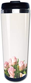 Portable Stainless Steel Insulated Coffee Travel Cup Mug,White background and frame with bouquet of pink rosesleak-proof flip cover keeps hot or cold 13.6 oz (400 ml)