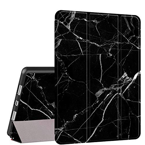 iPad 9.7 2018/2017 Case,iPad Air 2/Air Case, Rossy PU Leather TPU Shock Trifold Stand Folio Smart Cover with Auto Wake/Sleep & Pencil Holder for Apple iPad 6th/5th Gen,Black Marble