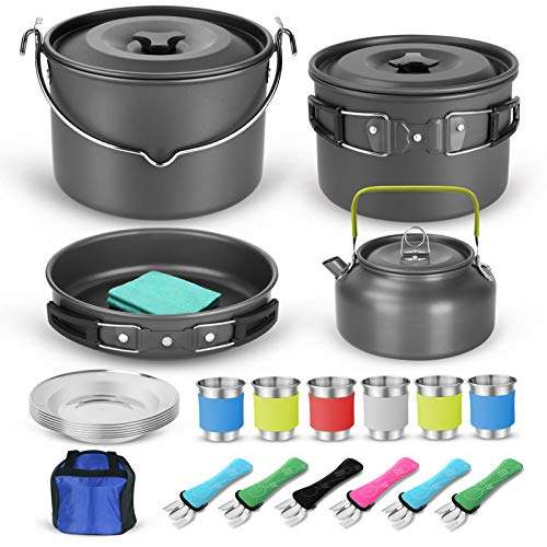 Odoland 39pcs Camping Cookware Mess Kit for 6 and more, Large Size Hanging Pot Pan Kettle with Base Dinner Cutlery Sets, Cups Dishes Forks Spoons Kit for Outdoor Camping Hiking and Picnic
