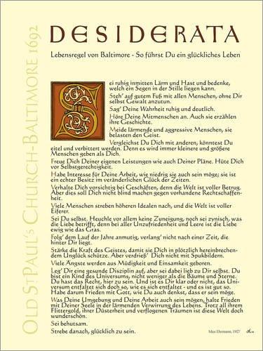 Poster 30 x 40 cm: Desiderata III von Dirk H. Wendt - hochwertiger Kunstdruck, neues Kunstposter
