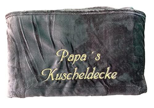 Kuscheldecke XXL - 180 x 220 cm - Persönlich anpassbar Bestickt mit Namen & Text - Hochwertige Decke - Tagesdecke - Farbe Braun - Stickfarbe wählbar